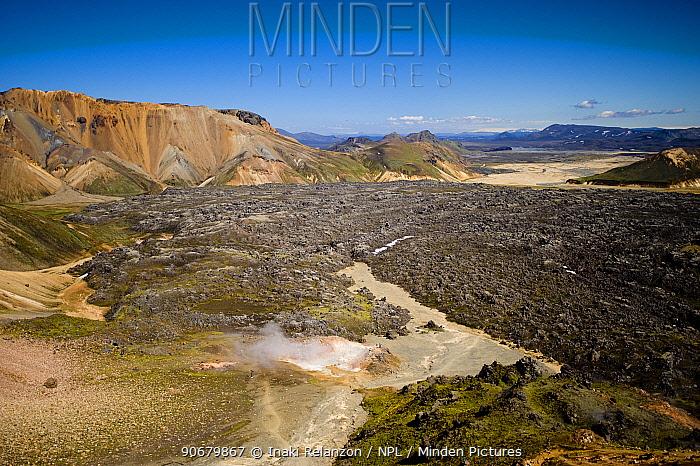 Lava fields in the Landmannalaugar mountains, central Iceland July 2008  -  Inaki Relanzon/ npl