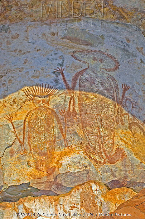Aboriginal rock art on a panel of rock at the end of the navigable section of Chamberlian Gorge, El Questro, The Kimberley, Western Australia, September 2007  -  Steven David Miller/ npl