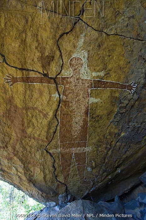Quinkan-style Aboriginal rock art at the Honeymoon Aboriginal Rock Art Shelter, Jowabinna Rock Art Safari Camp, Cape York, Queensland, Australia  -  Steven David Miller/ npl