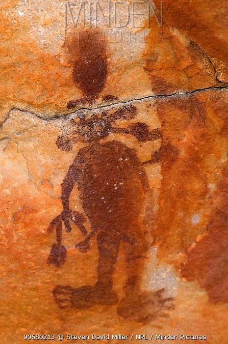 Wandjina figures and Bradshaw rock art, Northern Kimberley region and the Mitchell Plateau, Western Australia  -  Steven David Miller/ npl