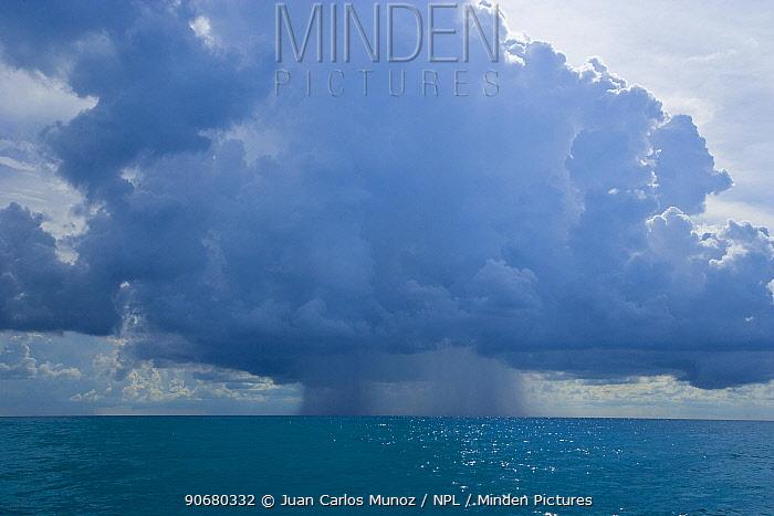 Rain falling from cumulonimbus clouds over the sea, Bahamas, Caribbean  -  Juan Carlos Munoz/ npl