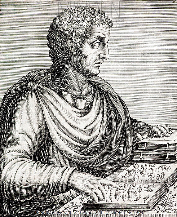 Portrait of Gaius Plinius Secundus, army commander, naturalist and author (23AD to 25 August 79AD) Copperplate engraving from Andre Thevet's 'Portraits et vies des hommes illustres' publ Guillaume Chaudiere 1584 Pliny's Natural History (written up to AD 77) was the first encyclopaedia and remained the major source of knowledge throughout the middle ages It became one of the first books ever to be printed In his 'Naturalis Historia' Pliny concerned himself with many descriptions of animals and plants, from the everday, through the exotic to the fantastic Authors such as Conrad Gesner were to rely heavily on his accounts, and discoveries of creatures like the famous 'Durer' Rhino of 1515 (which Pliny had described) seemed to support his broad validity Pliny the Elder died while observing the eruption of Vesuvius and trying to rescue citizens in 79AD  -  Paul D Stewart/ npl