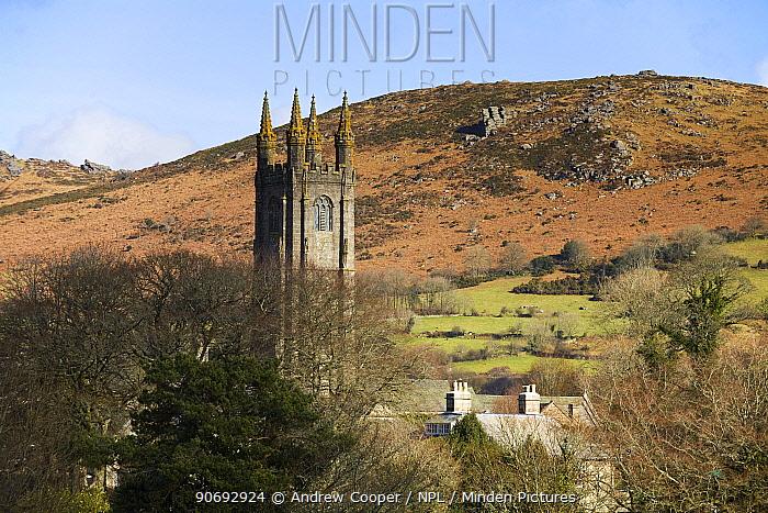 Widecombe-in-the-Moor church tower against hillside Dartmoor National Park, Devon, February 2011  -  Andrew Cooper/ npl