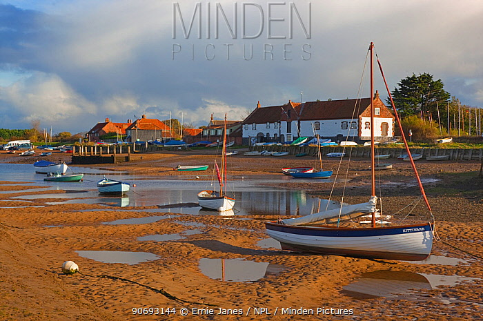 Boats and view of village, Burnham Overy Staith, Norfolk, November 2012  -  Ernie Janes/ npl