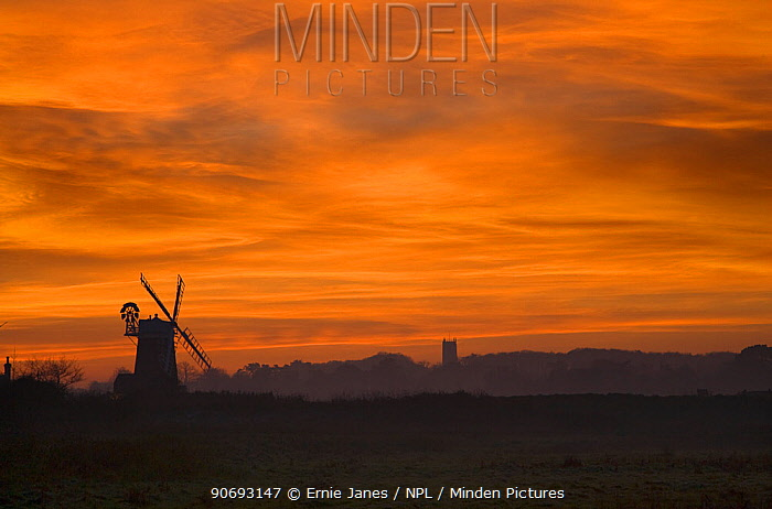 Cley Mill and Blakeney Church at sunset, Norfolk, December 2006  -  Ernie Janes/ npl