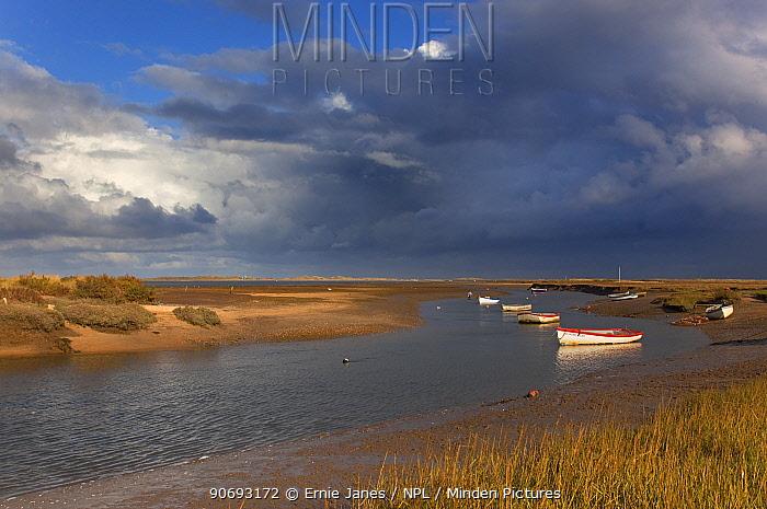 River Stiffkey estuary towards Blakeney Point with clouds, Norfolk, UK, November 2012  -  Ernie Janes/ npl