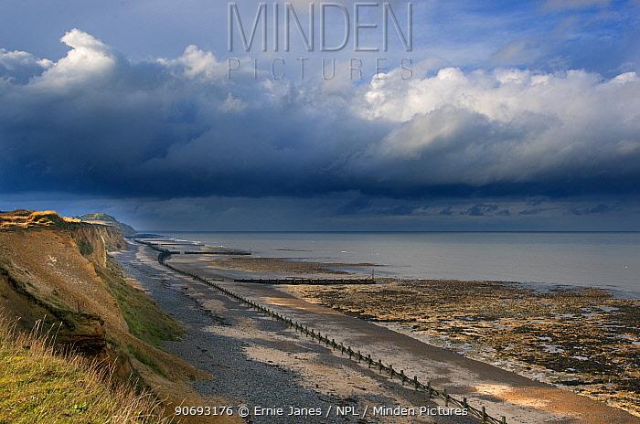 North sea viewed from West Runton Norfolk with coming storm, Norfolk, UK, November 2012  -  Ernie Janes/ npl