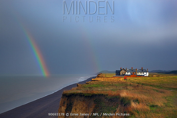Coastal cottages and path with rainbow over sea, Weybourne Norfolk, November 2012  -  Ernie Janes/ npl