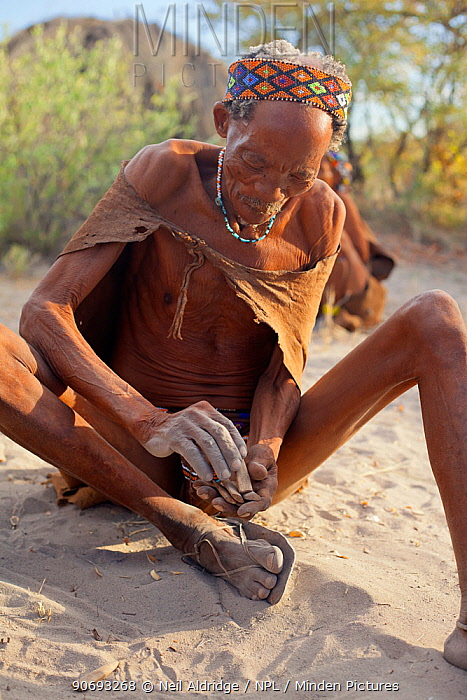 A Zu, 'hoasi Bushman Sangoma (Zulu healer) prepares to throw special wooden sticks into the sand and ask for guidance from ancestral spirits before setting out to hunt in the Kalahari, Botswana April 2012  -  Neil Aldridge/ npl