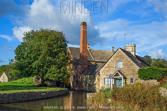 The Old mill on the river Windrush, Upper Slaughter, Cotswold village, Gloucestershire, England, October 2012  -  Gary K. Smith/ npl