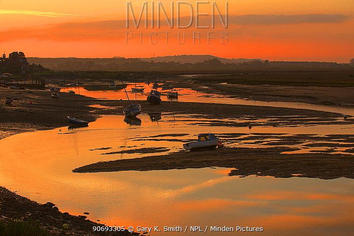 Burnham Overy Staithe harbour at sunset, Norfolk, England, November  -  Gary K. Smith/ npl