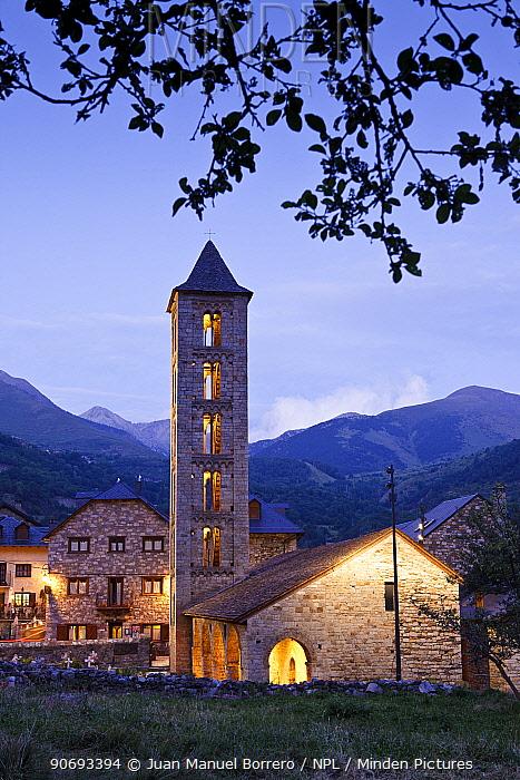 Santa Eulalia de Erill la Vall, Romanesque church, part of UNESCO World Heritage Site at Boi Valley, Pyrenees, Lleida Province, Spain, July 2012  -  Juan Manuel Borrero/ npl