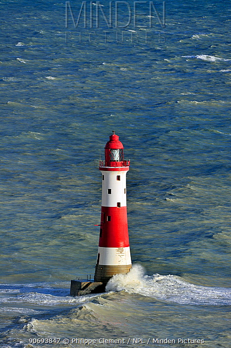 Lighthouse in the English Channel at Beachy Head, Sussex, UK, November 2012  -  Philippe Clement/ npl