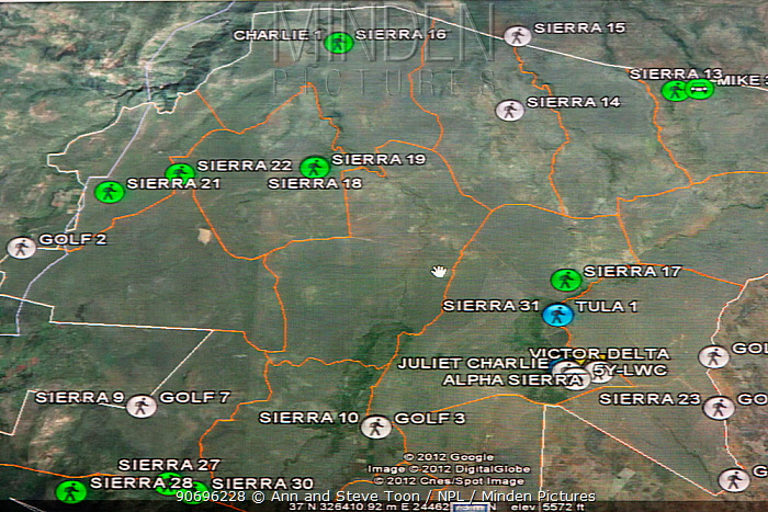 Remote tracking of Rhino patrols via digital radio, screenshot, Lewa Conservancy, Laikipia, Kenya, September 2012  -  Ann & Steve Toon/ npl
