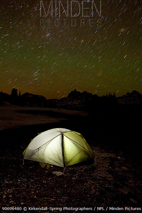 Night time view of a campsite tent on the Death Canyon Shelf along the Teton Crest Trail in Grand Teton National Park Wyoming, USA, July 2011  -  Kirkendall-spring/ npl