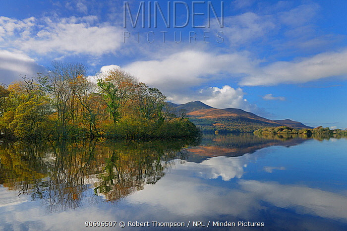 Lough Lean lower, with Innisfallen island and Macgillycuddy's reeks, photographed from Cherry Island, Killarney, County Kerry, Ireland, June 2012  -  Robert Thompson/ npl