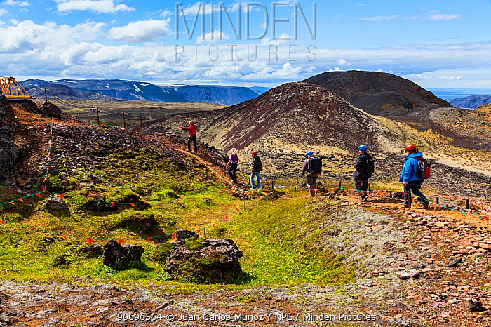 Tourists hiking to the Thrihnukagigur volcano, for a tour of the inside of this now dormant volcano, Iceland, Europe, June 2012  -  Juan Carlos Munoz/ npl