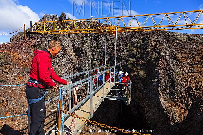 Entrance to Thrihnukagigur volcano, a dormant volcano now used for tours, Iceland, Europe, June 2012  -  Juan Carlos Munoz/ npl