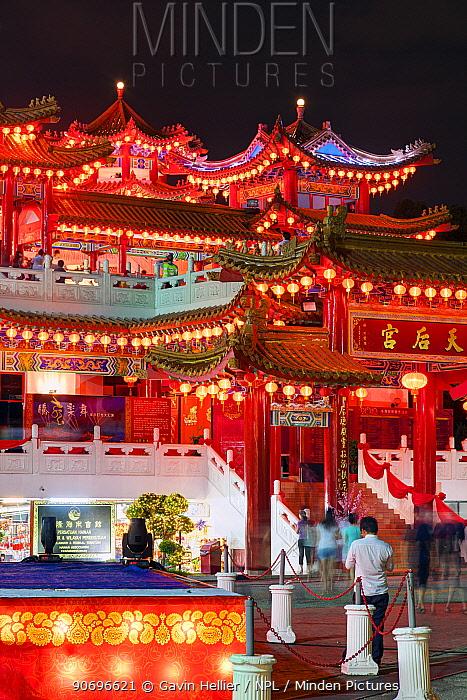 Thean Hou Chinese Temple at night, Kuala Lumpur, Malaysia, February 2012  -  Gavin Hellier/ npl