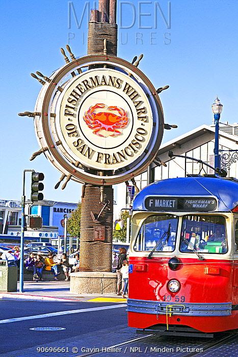 An F-Line streetcar on Jefferson Street, Fisherman's Wharf, San Francisco, California, USA, June 2011  -  Gavin Hellier/ npl
