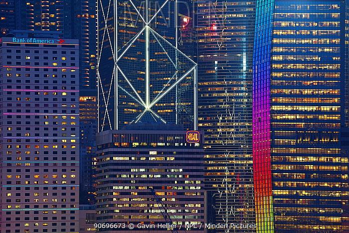 Hong Kong skyline at dusk, Central business and financial district, Bank of China building, Hong Kong, China, July 2011  -  Gavin Hellier/ npl