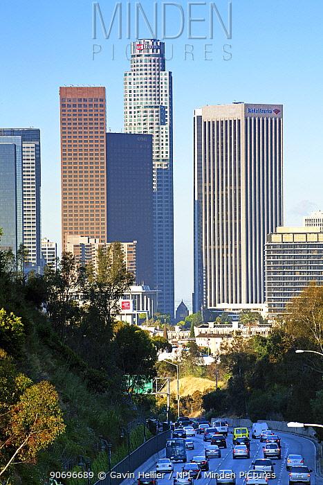 Pasadena Freeway, CA Highway 110, leading into downtown Los Angeles, California, USA, June 2011  -  Gavin Hellier/ npl