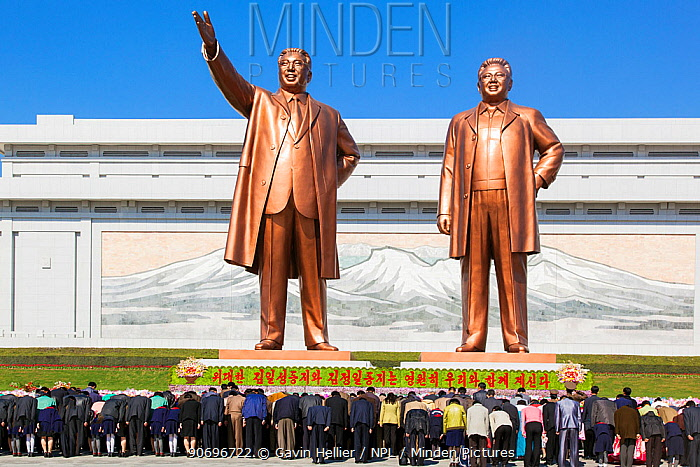 Mansudae Grand Monument, giatn statues of former Presidents Kim Il-Sung and Kim Jong Il, Mansudae Assembly Hall on Mansu Hill, Pyongyang, Democratic Peoples' Republic of Korea (DPRK) North Korea, 2012  -  Gavin Hellier/ npl