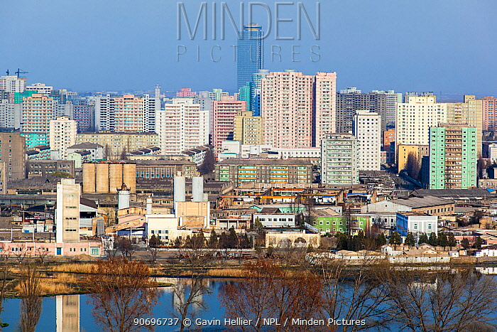 City apartment buildings in Pyongyang, Democratic Peoples' Republic of Korea (DPRK) North Korea, 2012  -  Gavin Hellier/ npl