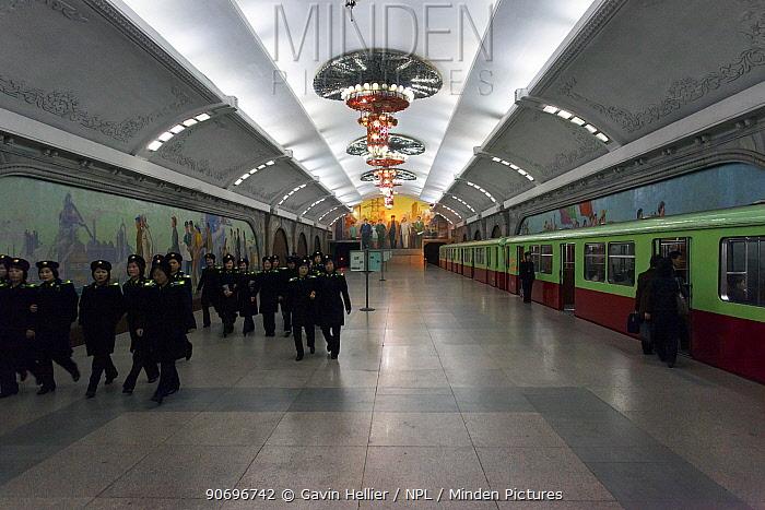Punhung station, one of the many 100 metre deep subway stations on the Pyongyang subway network, Pyongyang, Democratic Peoples' Republic of Korea (DPRK), North Korea 2012  -  Gavin Hellier/ npl