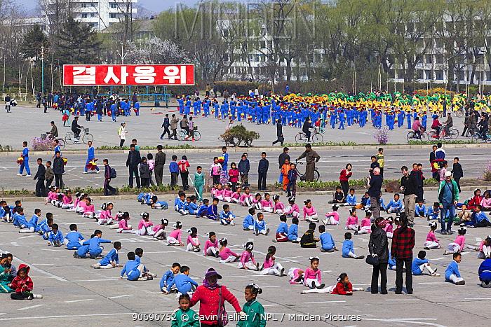 Children practising mass games outside the Grand Theatre, Hamhung, Democratic Peoples' Republic of Korea (DPRK), North Korea 2012  -  Gavin Hellier/ npl