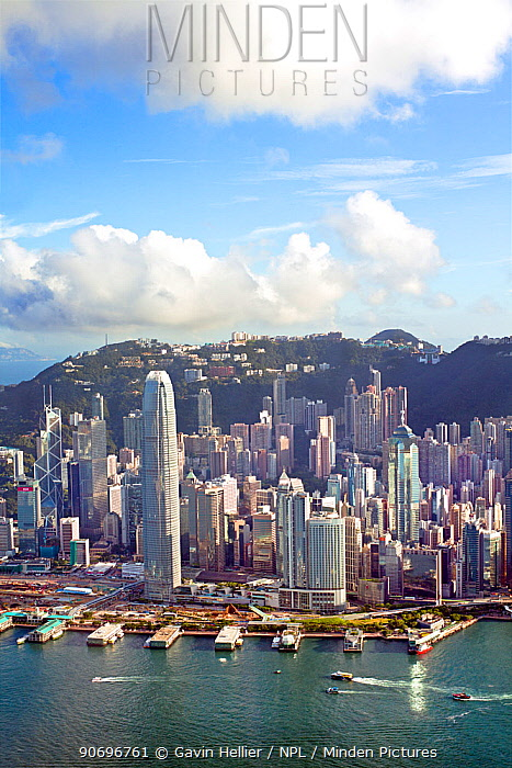 Elevated view across the busy Hong Kong harbour, Central district of Hong Kong Island and Victoria Peak, Hong Kong, China 2011  -  Gavin Hellier/ npl
