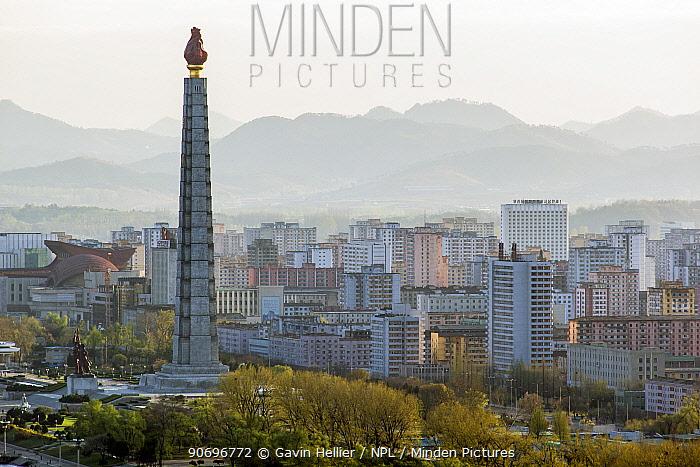 Pyongyang city skyline and the Juche Tower, Democratic Peoples' Republic of Korea (DPRK), North Korea, 2012  -  Gavin Hellier/ npl