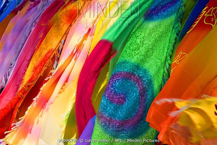 Colourful cloth designs for sale along Jolly Beach, Antigua, Antigua and Barbuda, Leeward Islands, Lesser Antilles, Caribbean, West Indies, 2012  -  Gavin Hellier/ npl