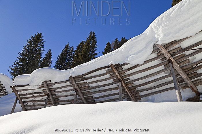 Avalanche prevention fences, St Anton am Arlberg, Tirol, Austria, 2008  -  Gavin Hellier/ npl