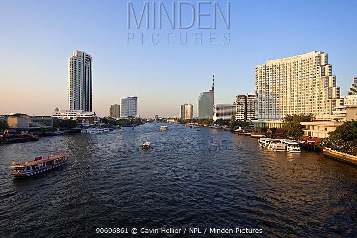 Chao Phraya river and the modern Bangkok skyline, Bangrak district, Bangkok, Thailand, 2010  -  Gavin Hellier/ npl