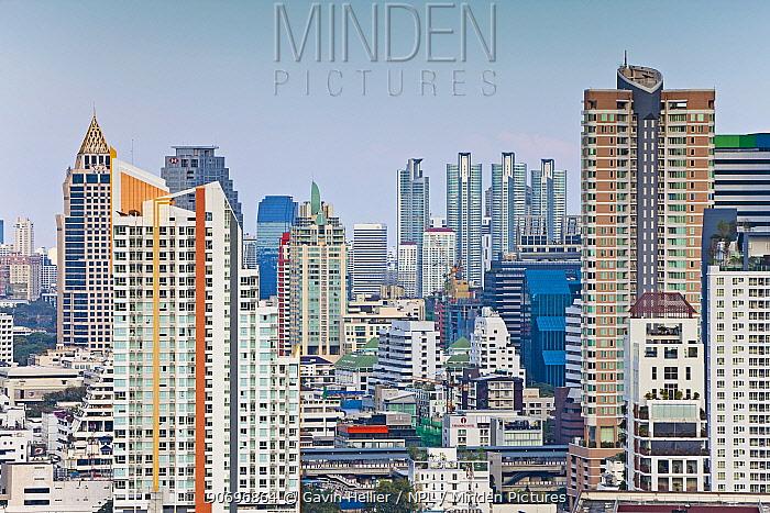 Modern City Skyline looking towards the Sukhumvit district, Bangkok, Thailand, 2010 No release available  -  Gavin Hellier/ npl