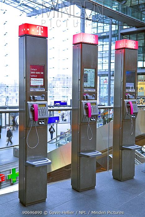 Row of modern public telephones in modern train station, Berlin, Germany 2009  -  Gavin Hellier/ npl