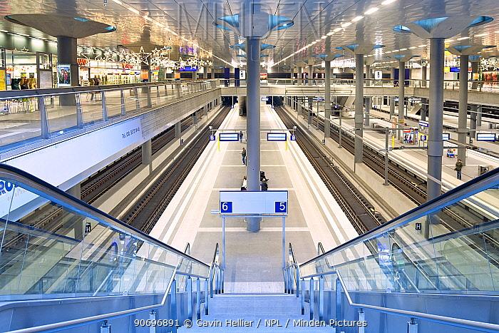 Looking down steps onto new modern main railway station, Berlin, Germany 2009  -  Gavin Hellier/ npl