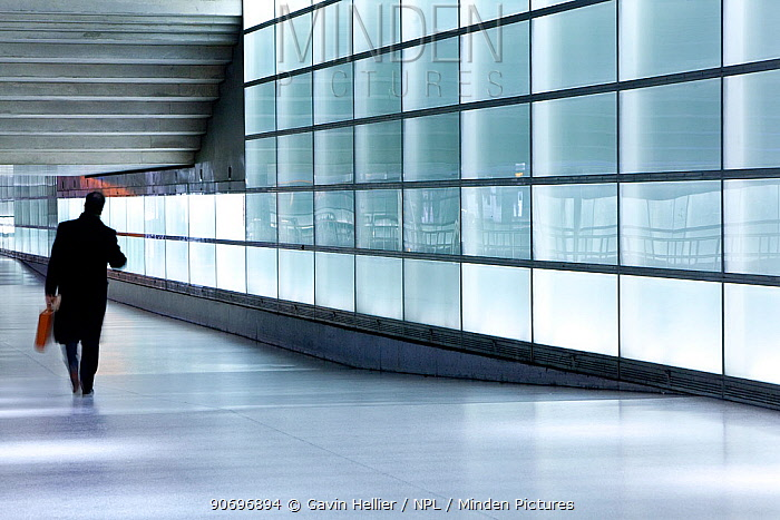 People commuting through glass walled passageway in modern building, Berlin, Germany, 2009 No release available  -  Gavin Hellier/ npl