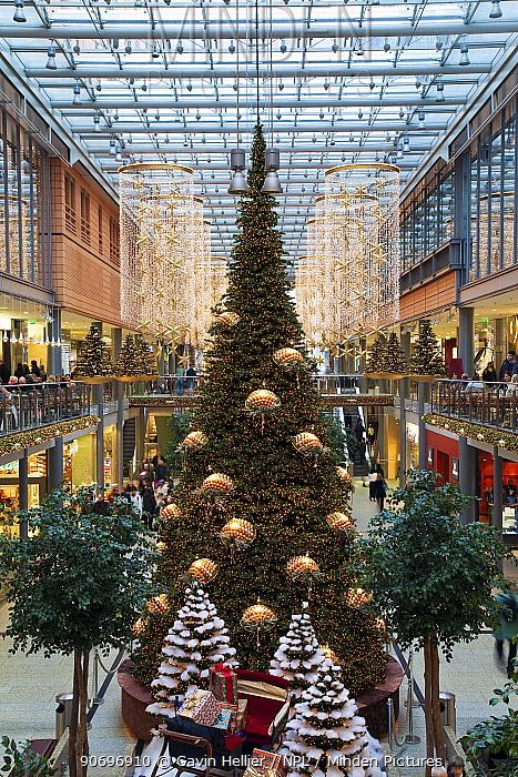 Christmas trees illuminated and decorated for festive season, Arkaden shopping centre in Potsdamer Platz, Berlin, Germany 2009  -  Gavin Hellier/ npl