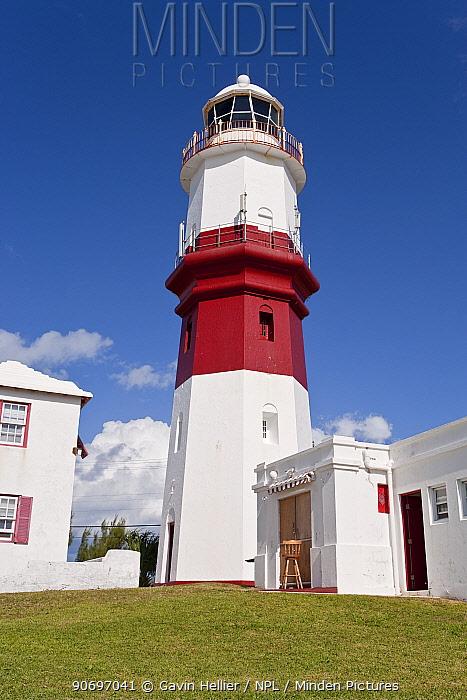 St David's lighthouse, 1879 red striped lighthouse standing 55ft tall, St George's Parish, Bermuda 2007  -  Gavin Hellier/ npl