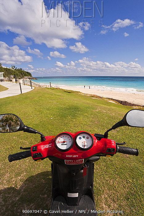 Scooter parked beside beach along the South Coast, Bermuda, Atlantic Ocean 2007  -  Gavin Hellier/ npl