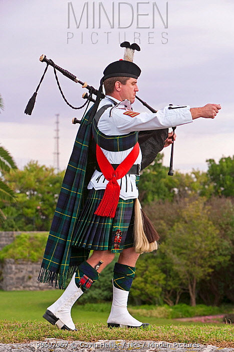 Kilted bagpiper of the Bermuda Islands Pipe Band, Hamilton Fort, Hamilton, Bermuda 2007 model released  -  Gavin Hellier/ npl