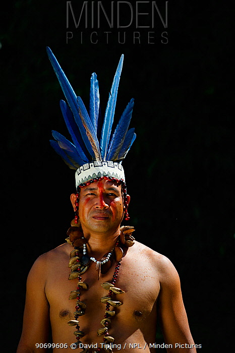 Guillermo Rodriguez Gomez - Shaman of the Bora Tribe, northern Amazon Basin, Peru. Wearing macaw feather head dress worn during shamanic ceremonies. September 2010.