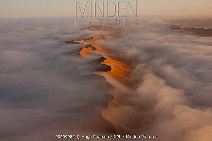 Aerial of fog over the Namib Desert, Namibia, September 2011.