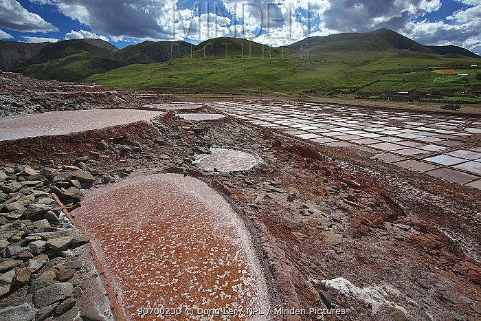 Traditional production of salt, Nangqian County, Qinghai Province, Qinghai-Tibet Plateau, China. August 2010.