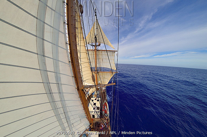 Fish eye view of sails of Corwith Cramer, 134-foot steel brigantine research vessel, Sargasso Sea, Bermuda, April.