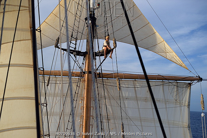 Corwith Cramer, a 134-foot steel brigantine built as a research vessel for operation under sail. Sargasso Sea, Bermuda