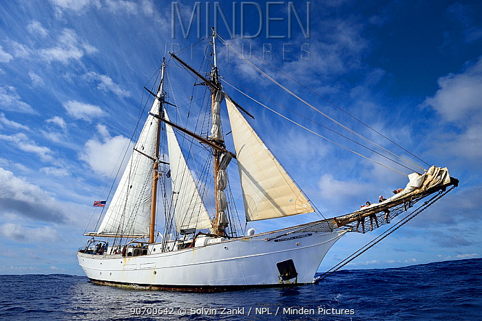 Corwith Cramer, a 134-foot steel brigantine,  Sargasso Sea, Bermuda, April 2014.