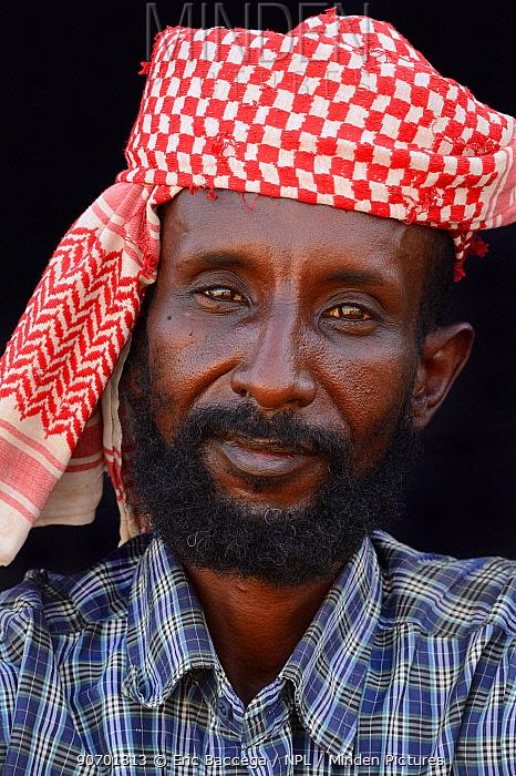 Afar tribe man with head scarf, Ahmed Ela village, Danakil depression, Afar region, Ethiopia, March 2015.